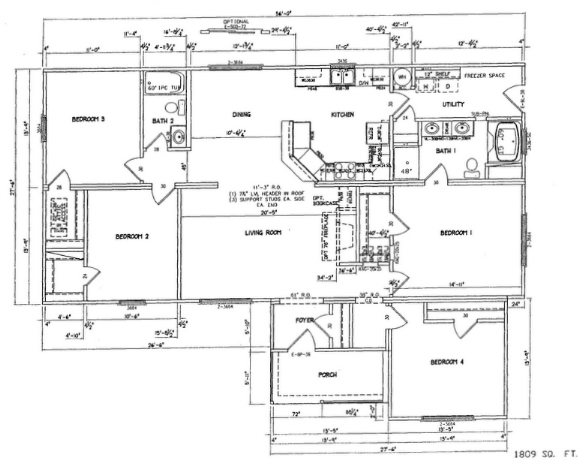 4 Bedroom Floor Plan. 4 Bedroom Special   2 Full Baths and Country Porch